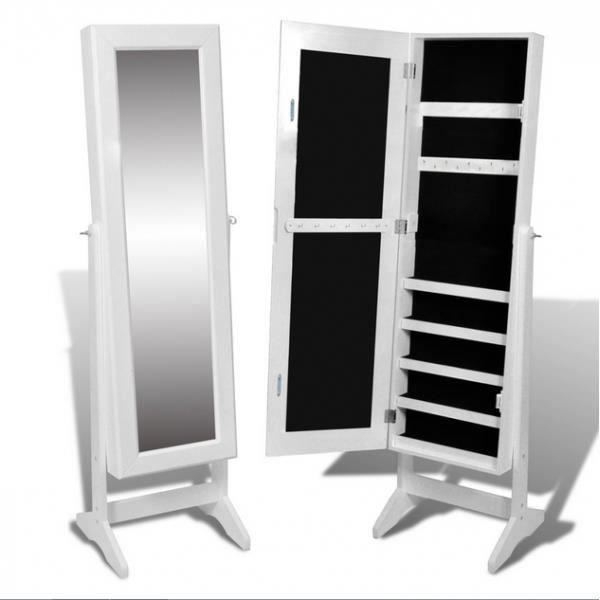 armoire à bijoux avec miroir blanc - achat / vente armoire de