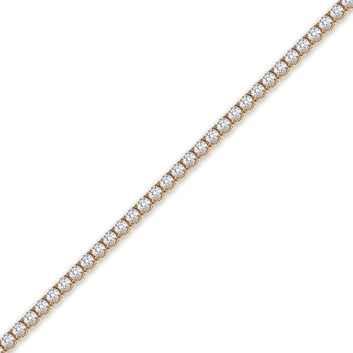 Jewelco London sans-conflit Femmes Solide Or Jaune 18k 4Griffes Rond Brillant H SI Diamant Ligne 9.00ct Tennis Bracelet