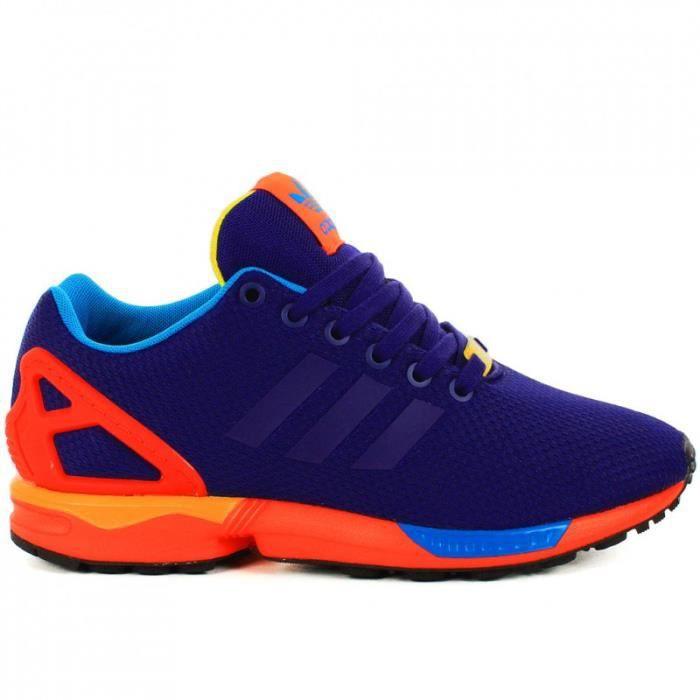 basket adidas zx flux noir et multicolore fluo