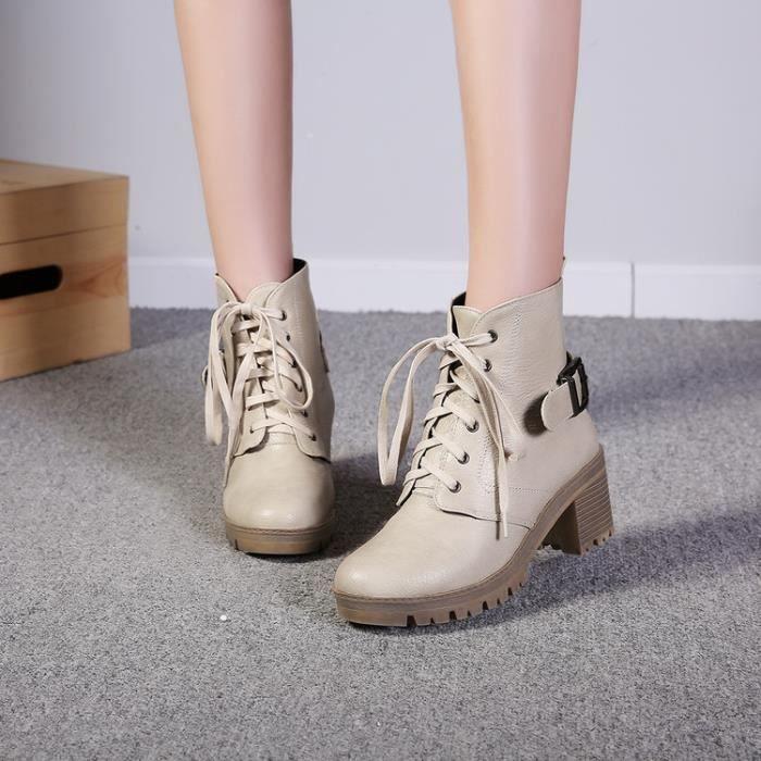 bottes courtes-Pure Color Place Femmes Heel Band Lacet Bottes