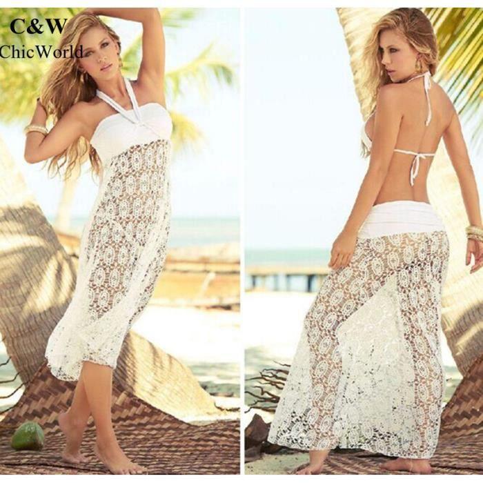 Nouvelle Arrivee Femmes Bikini Cover Crochet Hollow Out Désign Robe de Plage Sunscreen Tricotage Vêtement Femme