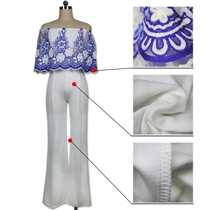 Bleu Nue Broderies Longue Xl Bigood Size Epaule Combinaison Lâche Pantalon Bleu noir Casual 0wnP8Ok