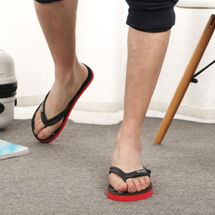 Mode Homme Plage Flops Rouge Sandales Débardage Slipper Anti Chaussures Flip De Pincez RfUR1qwC
