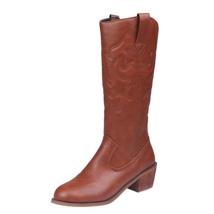 744b41983af413 Chaussures à talons carrés pour femmes Tube moyen en cuir sans ...