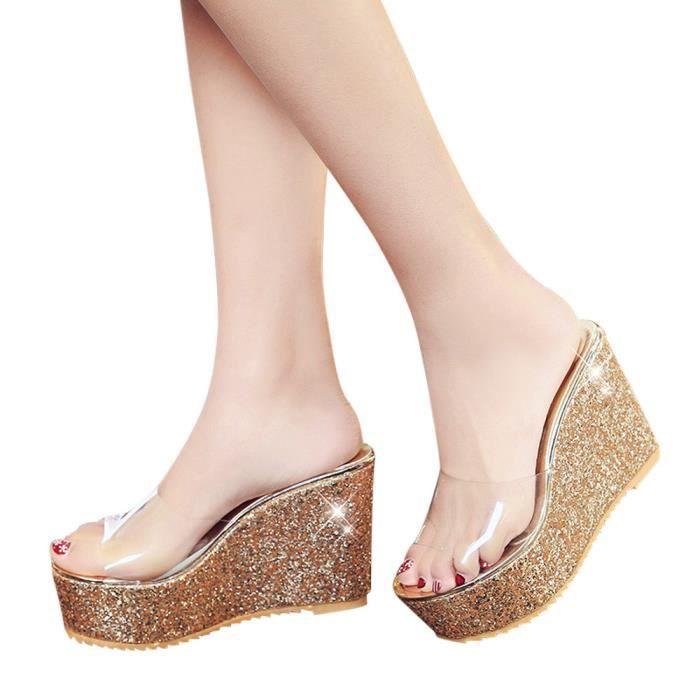 Femmes À Plate Peep Transparent Épais Chaussures Sandales Fond Or Chausson Toe Plateforme Z8Z4qwr