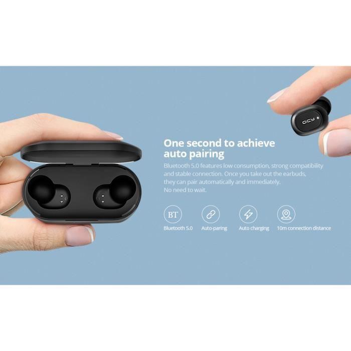 Écouteurs Qcy T2c Tws Bluetooth Casque À Sans Fil Stéréo Binaural Avec Micro Et Dock De Chargement 800 Mah