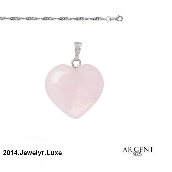 6cacc0ca8a Collier Femme Pendentif Coeur Quartz Rose Argent 925 Rose - Achat ...