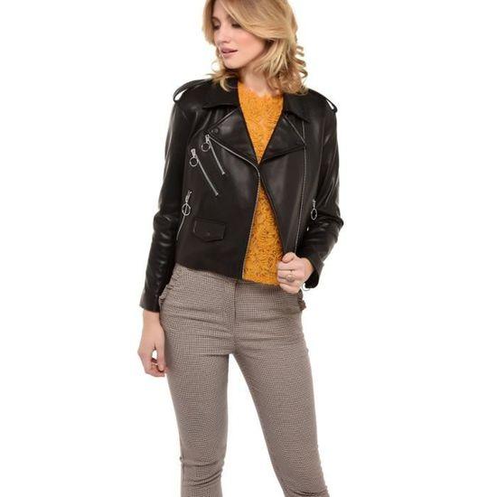 Perfecto En Taille Femmes Style Et 38 Zip Cuir Veste Anneaux VGMzpjLqSU