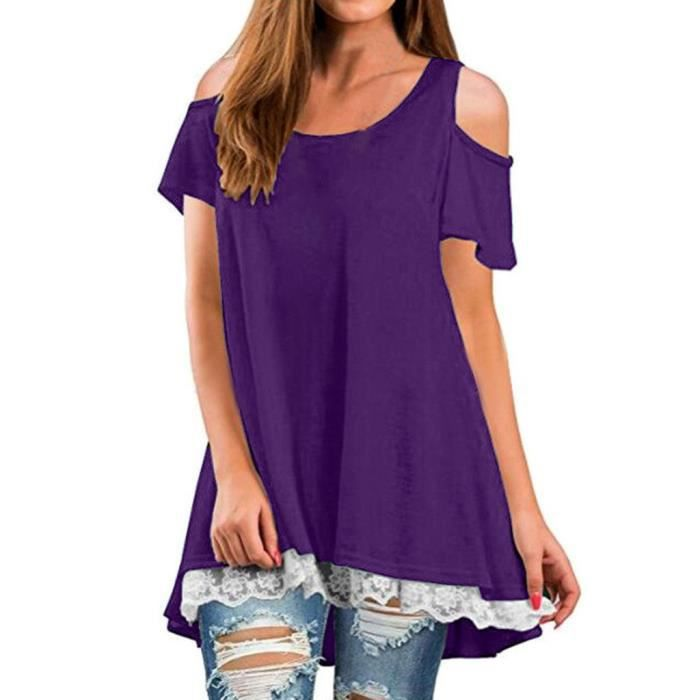 shirt Tops Courtes Rond Col Encolure Teeviolet Femmes Manches À T Casual Chemisier XO4wE