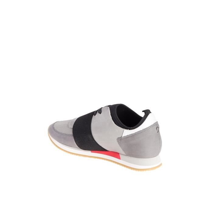 PHILIPPE MODEL HOMME NALUVL22 GRIS CUIR BASKETS pv526KB