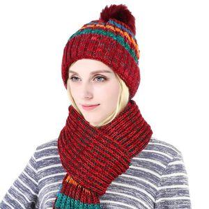 Ensemble bonnet et écharpe d hiver pour femmes, 2 pièces Noir Noir ... 331faa96161