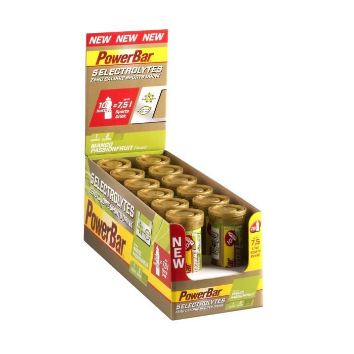 POWERBAR Boisson sport 5 Electrolytes - Zéro calorie - Mangue fruits de passion - 12 x 10 comprimés