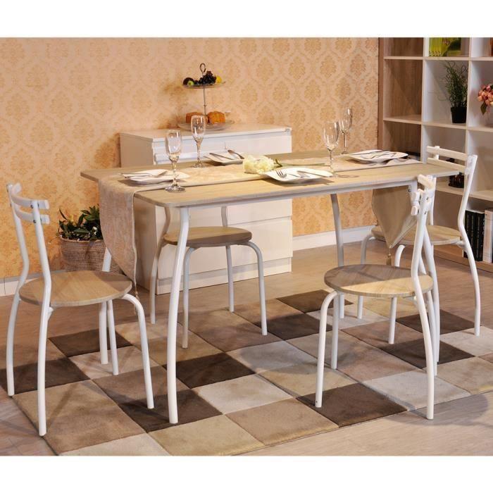 Aingoo® Salle à manger complète en panneau bois métal Blanc - Achat ...
