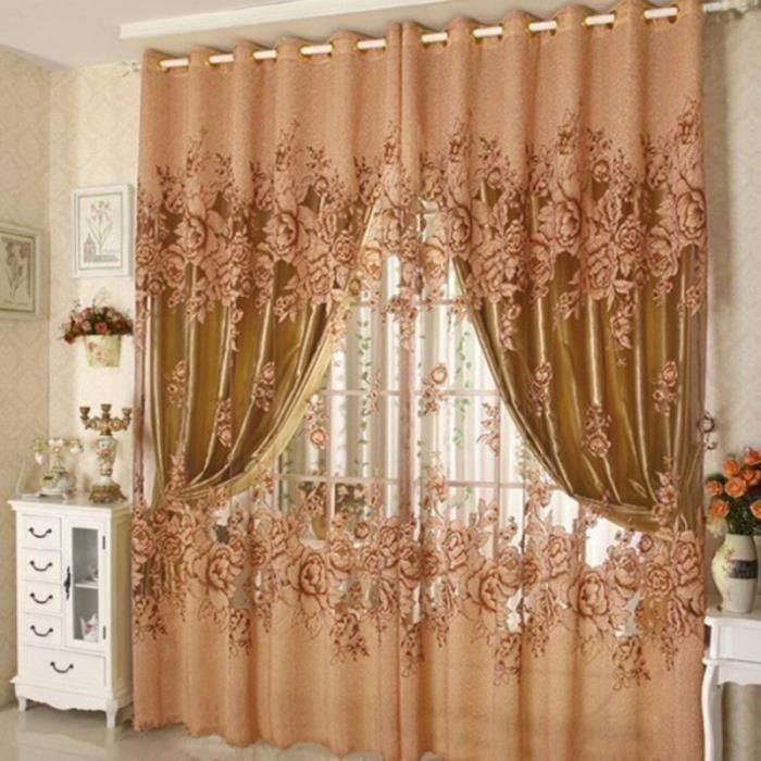 couleur caf marron 100cm 250cm rideau de fen tre haute. Black Bedroom Furniture Sets. Home Design Ideas
