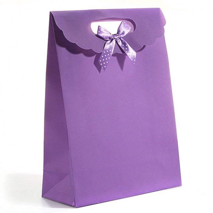12pcs Sacs Cadeau Pp Bowknot Faveurs Boite Cadeau Fete Noel Mariage Violet