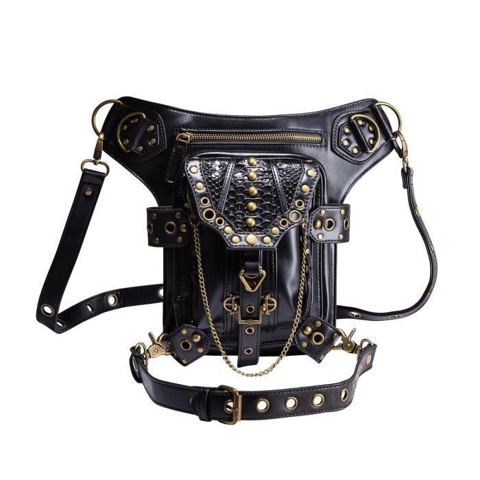 Nouveau sac à main Punk Steampunk épaule Vintage en cuir Sacs de taille Sac Leg HP436