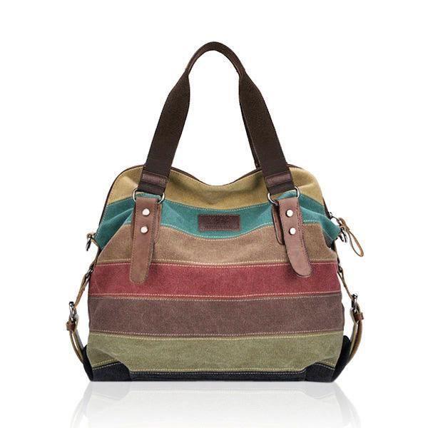 SBBKO1270Les femmes les sacs à main de toile de rayure décontractés micro-fibric les sacs à bandoulière de cuir mettent en