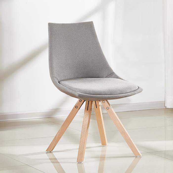 Lot 4 chaises en tissu gris Minsk Achat Vente chaise Gris Pied