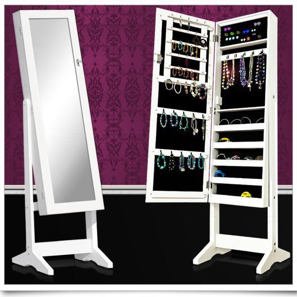 Armoire de rangement pour bijoux avec miroir bl…