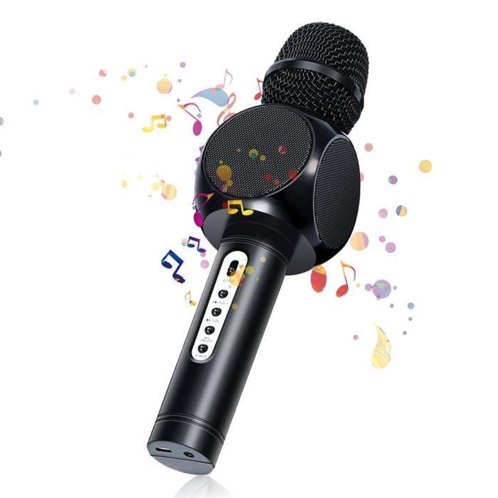 Karaoké Microphone Musique À Main Bluetooth Compatible Avec Smartphone/android/ios/pc, Pour Adultes Et Enfants, Noir