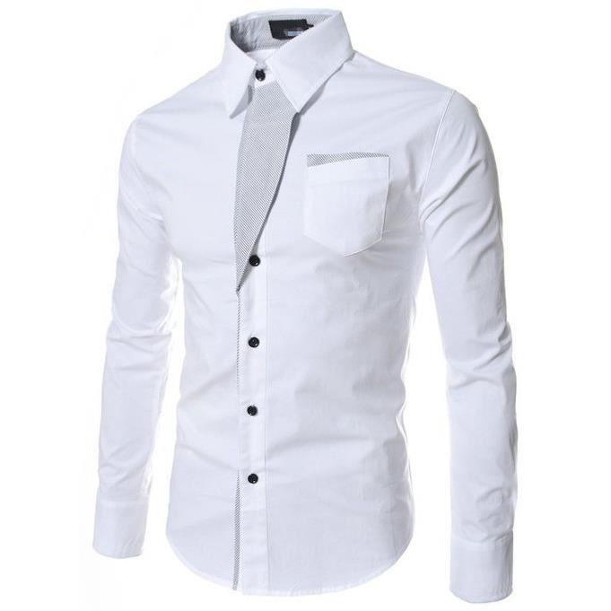 Extrêmement Chemise Homme Manche Longue Marque Luxe Slim Fit Chemises Pour  SR13