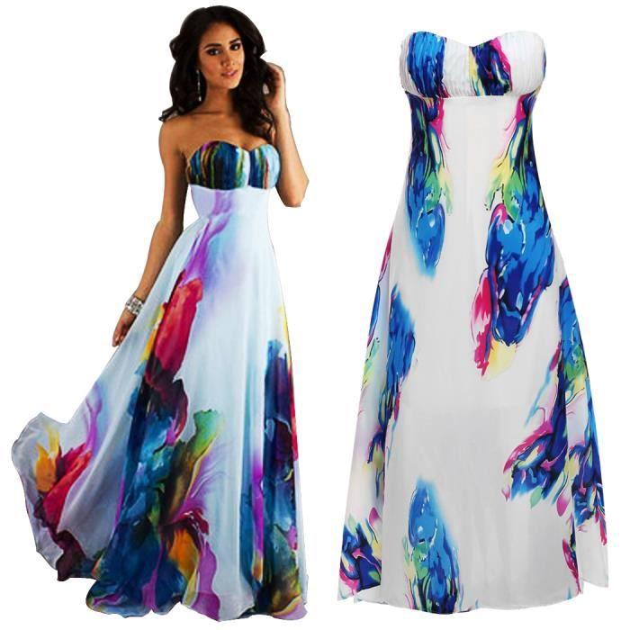 Robe Floral Sans Bretelle Haute Ceinture