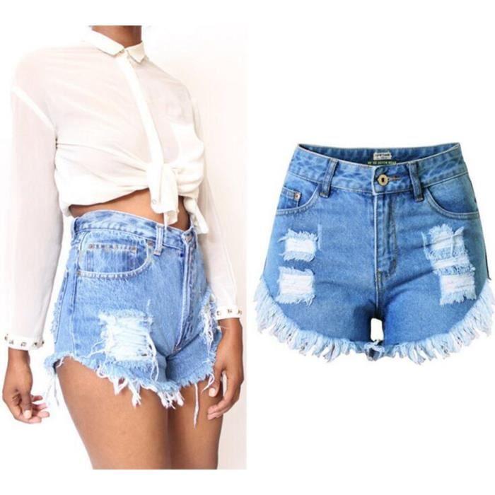 Nouvelle Arrivee Short en Jean Femme Irrégulier Houppe Taille Haute Été  Shorts Grande Taille Sexy Denim Pantalons Courts Bleu 76ef393e067