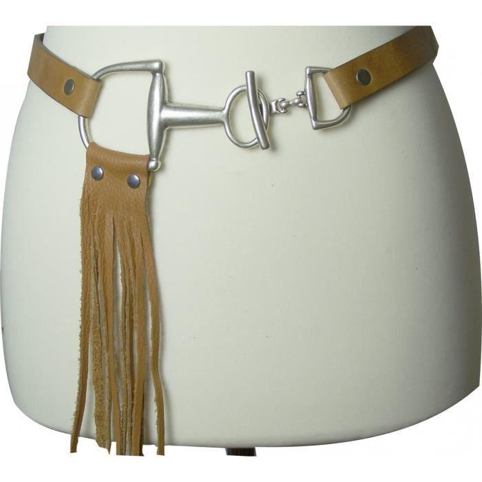 Fine ceinture de 3 cm à franges   Ceinture à porter au niveau des hanches    Boucle mate argentée   Cuir souple   cd6d8b09b99