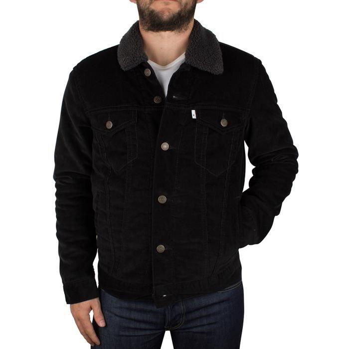 levi 39 s homme sherpa trucker jacket noir noir noir achat vente veste soldes d s le 10. Black Bedroom Furniture Sets. Home Design Ideas