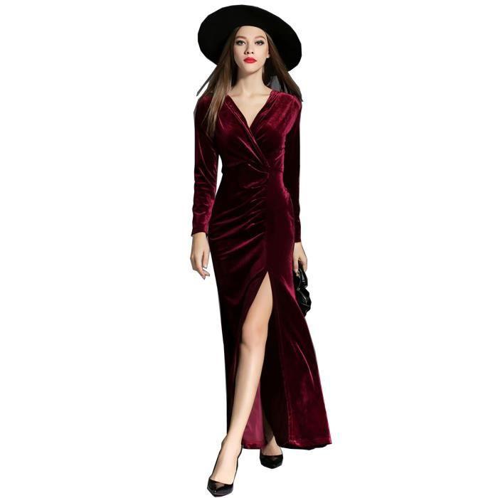 bandage robe longue femmes à manches longues haute qualité vintage velours  nouveau printemps 2018 noir vert rouge ad21d56a173e