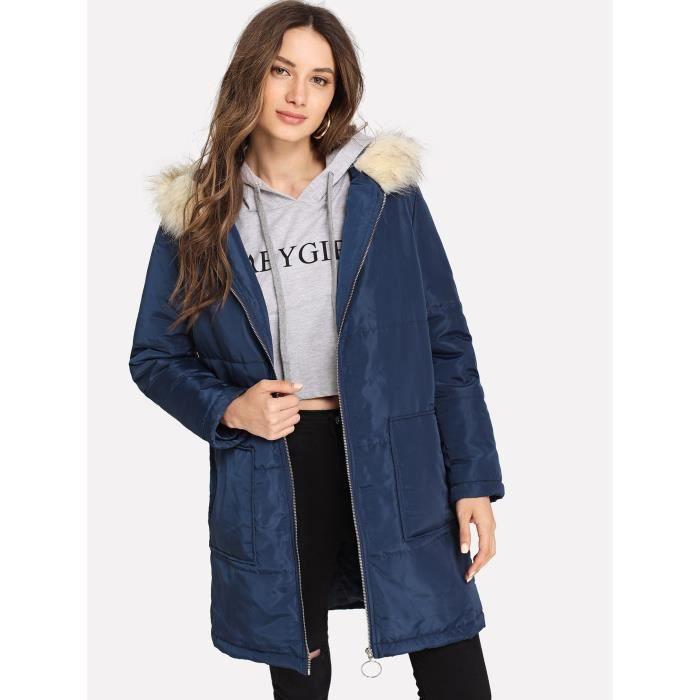 Manteau Bleu Avec Femme Longues Hiver Doudoune Marine Caban rqU0tvrwE