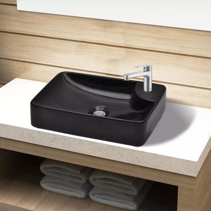 vasque a poser ceramique Vasque à trou Vasque à Poser pour robinet céramique Noir pour salle de bain  Noir