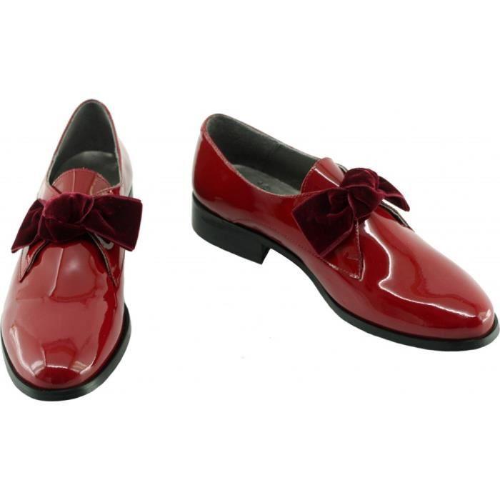 Ville - Loafer Grand Nœud à petit talon marque Folie's fabriqué en Espagne cuir vernis rouge