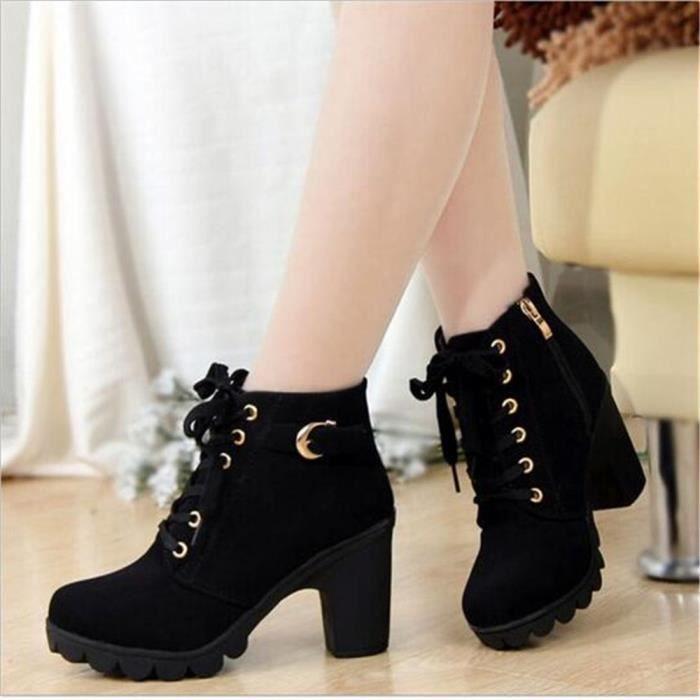 Bottine Femme Automne Hiver Haute Qualité High-heeled bottillons XFP-XZ016Jaune36 Pm3ns8H