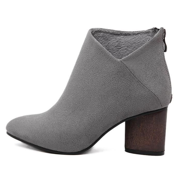Womens Chunky Block Low Heel Zipper Suede Ankle Booties PSLCZ Taille-38