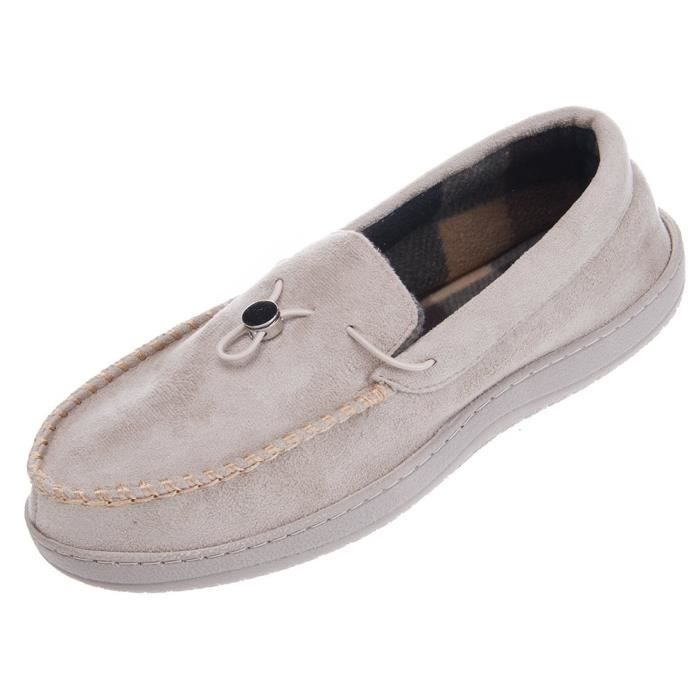 Soft Warm Indoor Outdoor Anti-slip Microsuede Moccasins Flats Slippers Shoes Z80C5 Taille-47