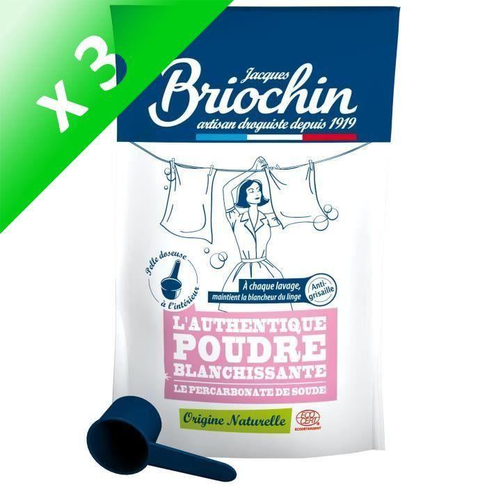 BRIOCHIN Poudre blanchissante au percarbonate de soude - 500 g (Lot de 3)