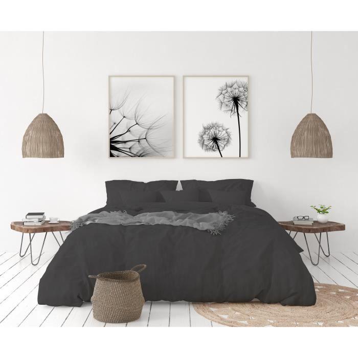 LOVELY HOME Parure de couette en 100% lin 240x260cm + 2 taies 65x65cm – Coloris Gris anthracite
