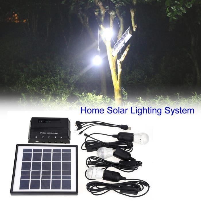 Kit Lampe Chargeur De Panneau Mobile Solaire Système 3 Ampoules Extérieur Maison D'éclairage 4w Jardin CBeWxrdo