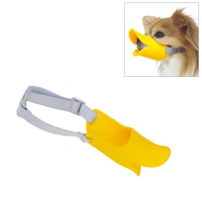 (#92) Cute Duck Mouth Shape Silicone Muzzle For Pet Dog, Size: L(yellow)