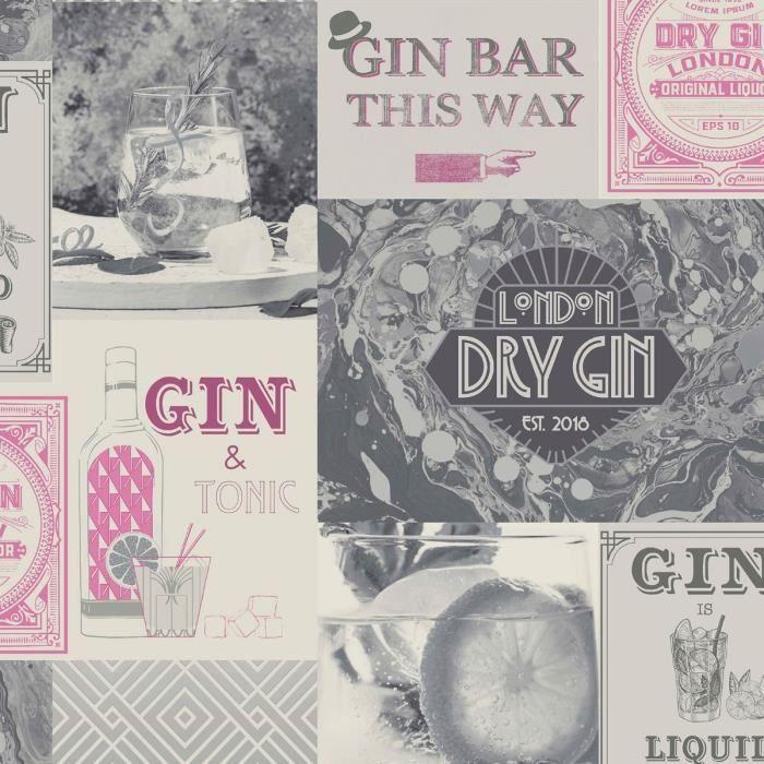 Papier Peint Crown Gin Fizz Gin O Clock Rose Argent M1457