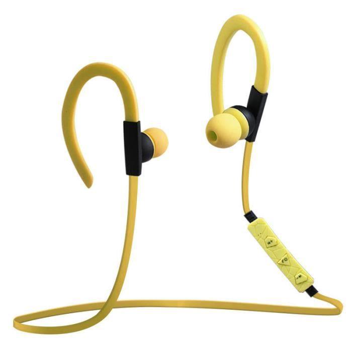 Anti-bruit Sport Sans Fil Bluetooth Casque Étanche Salut Fi Écouteurs Stéréo Casques Avec Micro Et Contrôle Du Volume-jaune