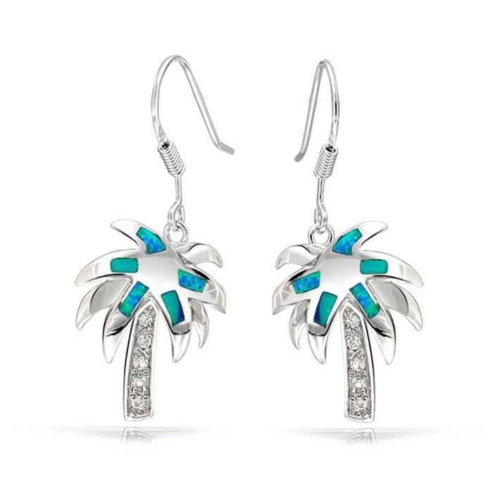 Cz Bleu Opal Inlay Tropical Palm Tree Boucles Pendent 925 Sterling