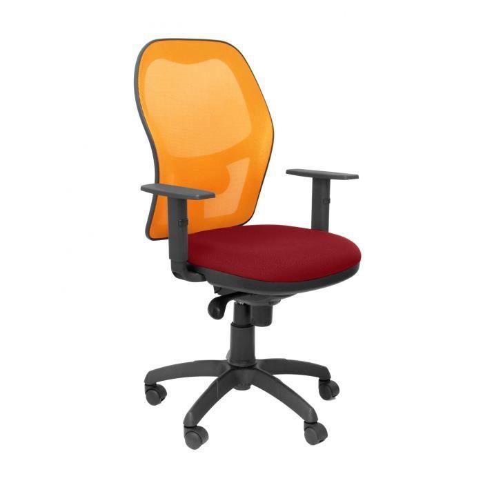 nouveau style 45981 45790 Siège de bureau ergonomique avec mécanisme synchro, accoudoirs réglables et  hauteur réglable Dossier en maille respirante orange et