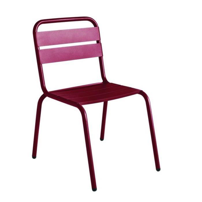 Chaise de jardin métal design Visalia Couleur Bordeaux - Achat ...