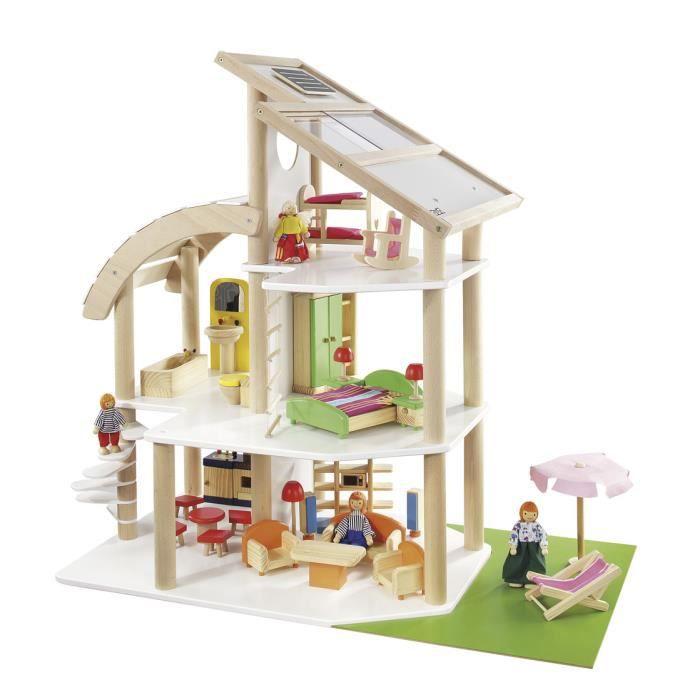 Howa maison de poup e en bois 7014 achat vente for Maison moderne kidkraft