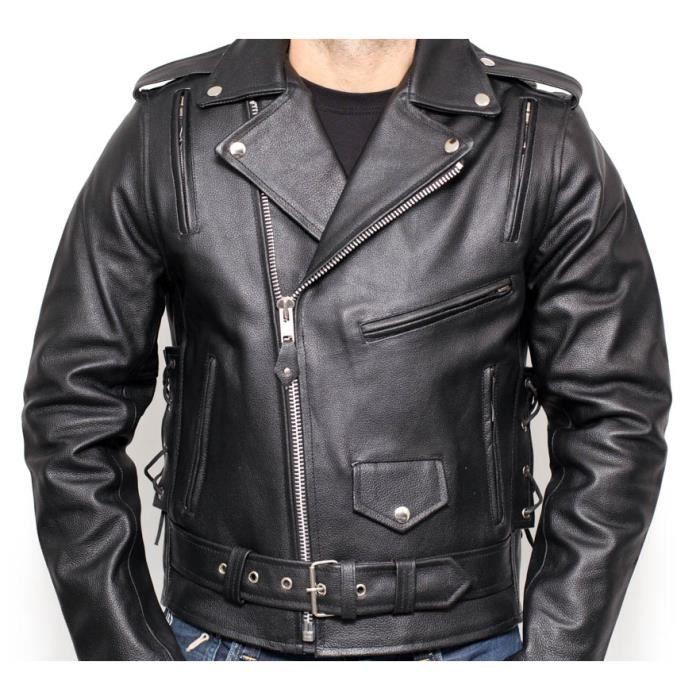 blouson cuir moto biker achat vente pas cher. Black Bedroom Furniture Sets. Home Design Ideas