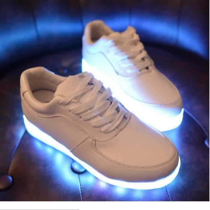 Blanc 7 Couleur Unisexe Homme Femme USB Charge LED Lumière Lumineux Clignotants Chaussures de Sports Baskets
