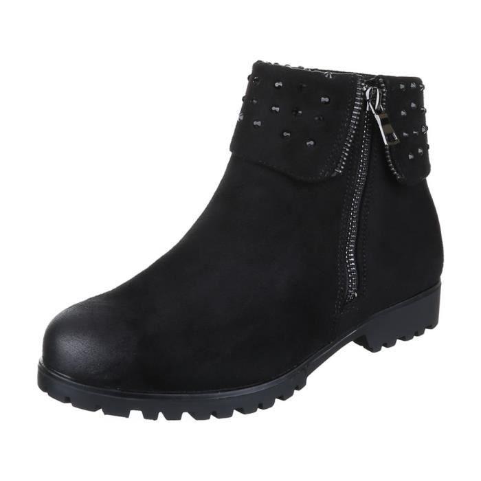femme Boots bottine chaussure avec Strass