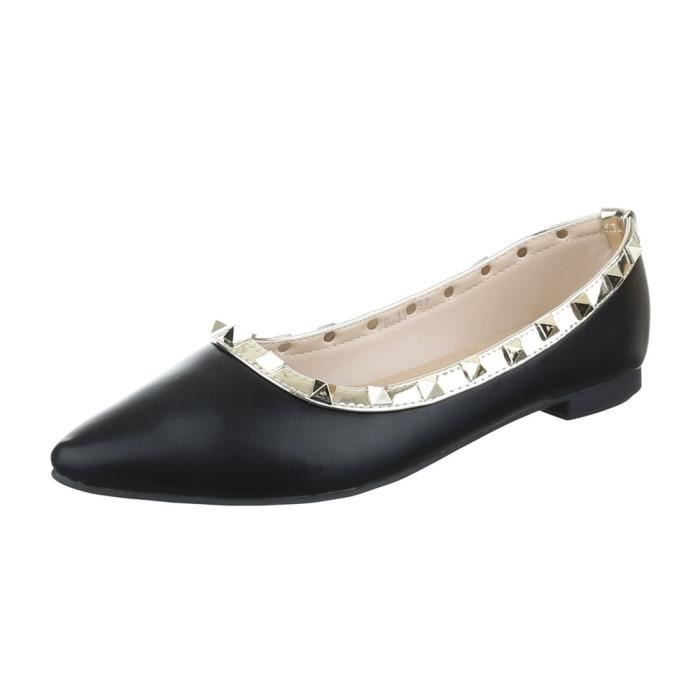 femme ballerine chaussure flâneurs mocassin Glisser surescarpin noir